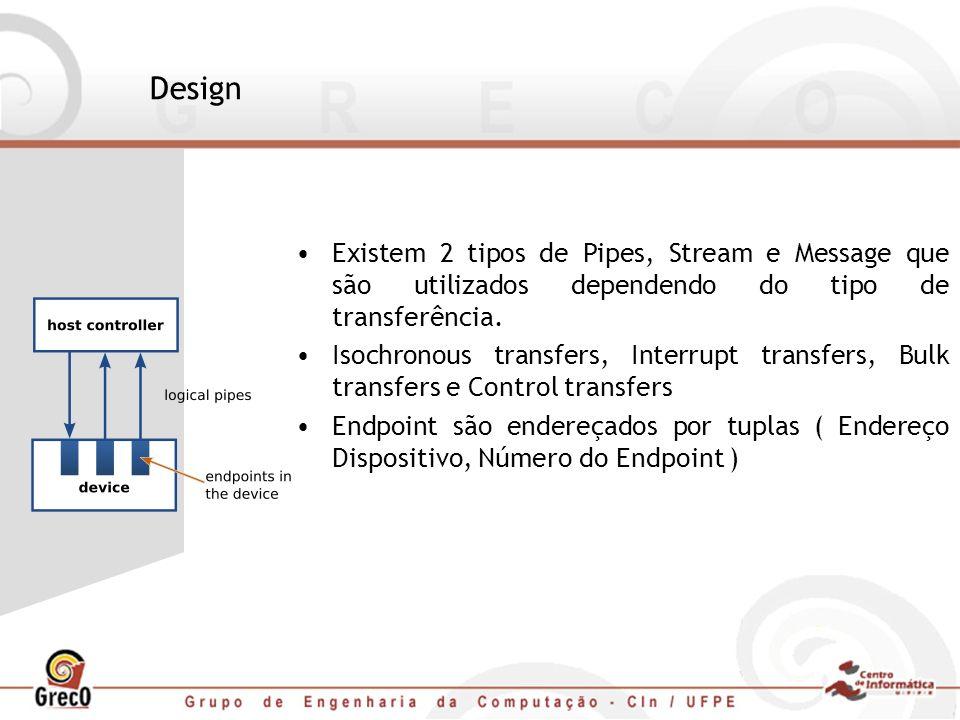 Design Existem 2 tipos de Pipes, Stream e Message que são utilizados dependendo do tipo de transferência.