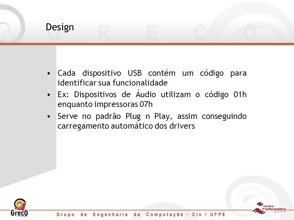 Design Cada dispositivo USB contém um código para identificar sua funcionalidade.