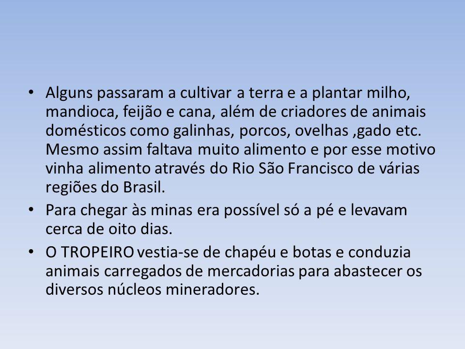 Alguns passaram a cultivar a terra e a plantar milho, mandioca, feijão e cana, além de criadores de animais domésticos como galinhas, porcos, ovelhas ,gado etc. Mesmo assim faltava muito alimento e por esse motivo vinha alimento através do Rio São Francisco de várias regiões do Brasil.