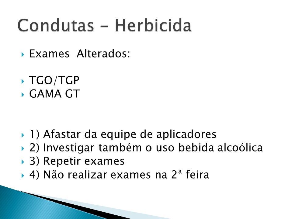 Condutas - Herbicida Exames Alterados: TGO/TGP GAMA GT