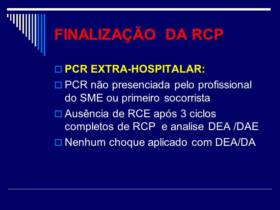 FINALIZAÇÃO DA RCP PCR EXTRA-HOSPITALAR: