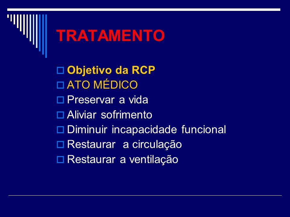 TRATAMENTO Objetivo da RCP ATO MÉDICO Preservar a vida