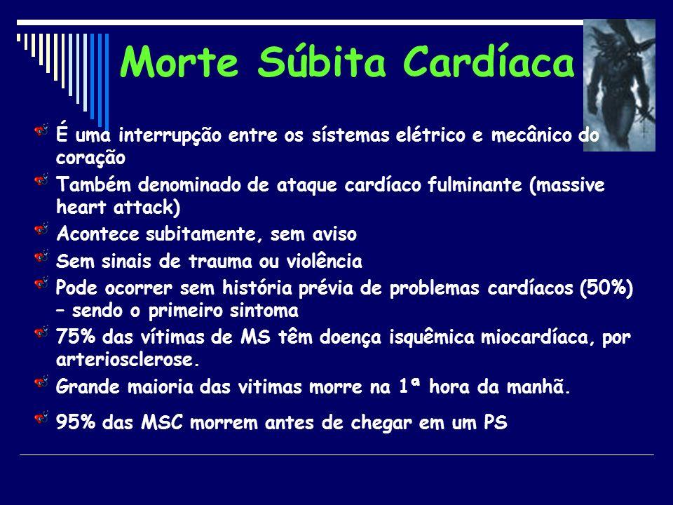 Morte Súbita Cardíaca É uma interrupção entre os sístemas elétrico e mecânico do coração.