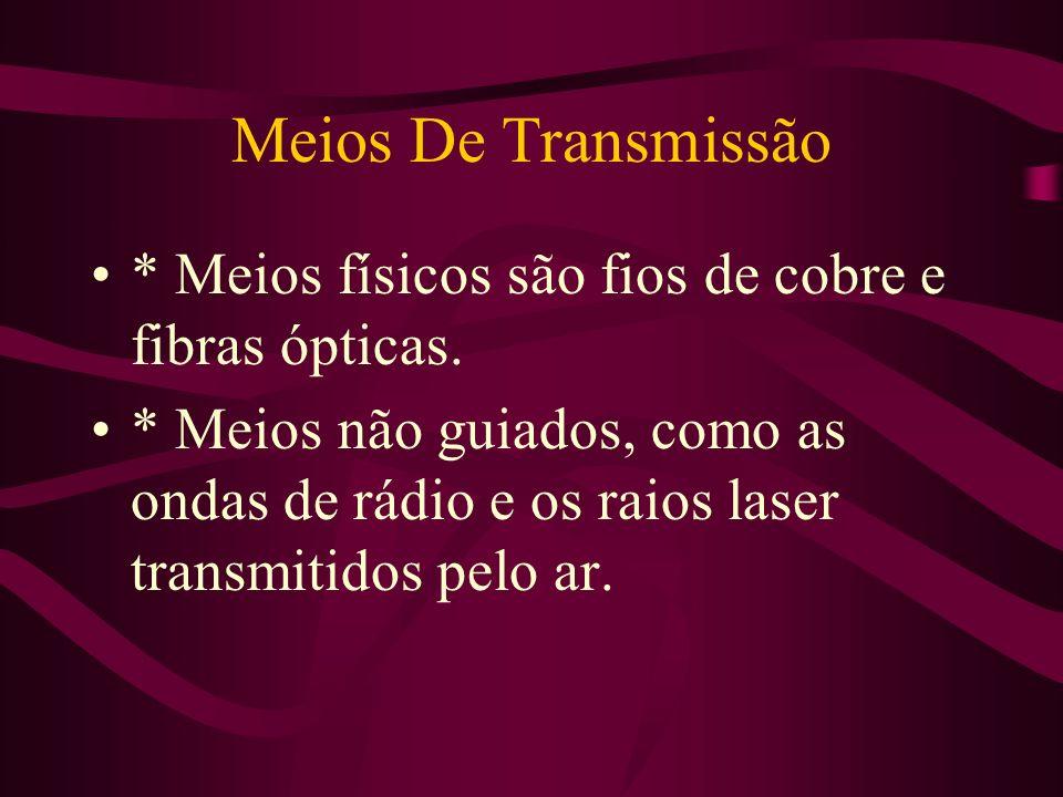 Meios De Transmissão * Meios físicos são fios de cobre e fibras ópticas.