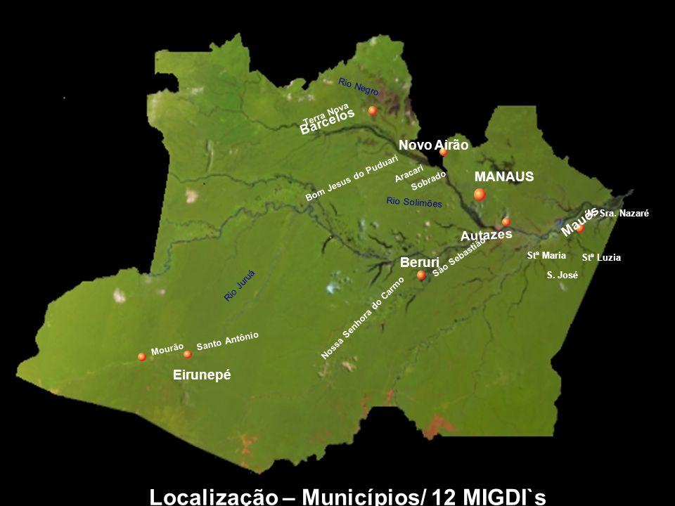 Localização – Municípios/ 12 MIGDI`s