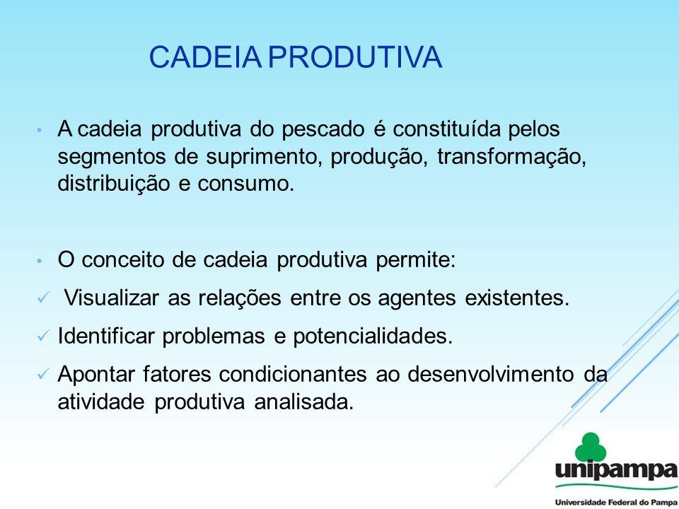 Cadeia produtiva A cadeia produtiva do pescado é constituída pelos segmentos de suprimento, produção, transformação, distribuição e consumo.