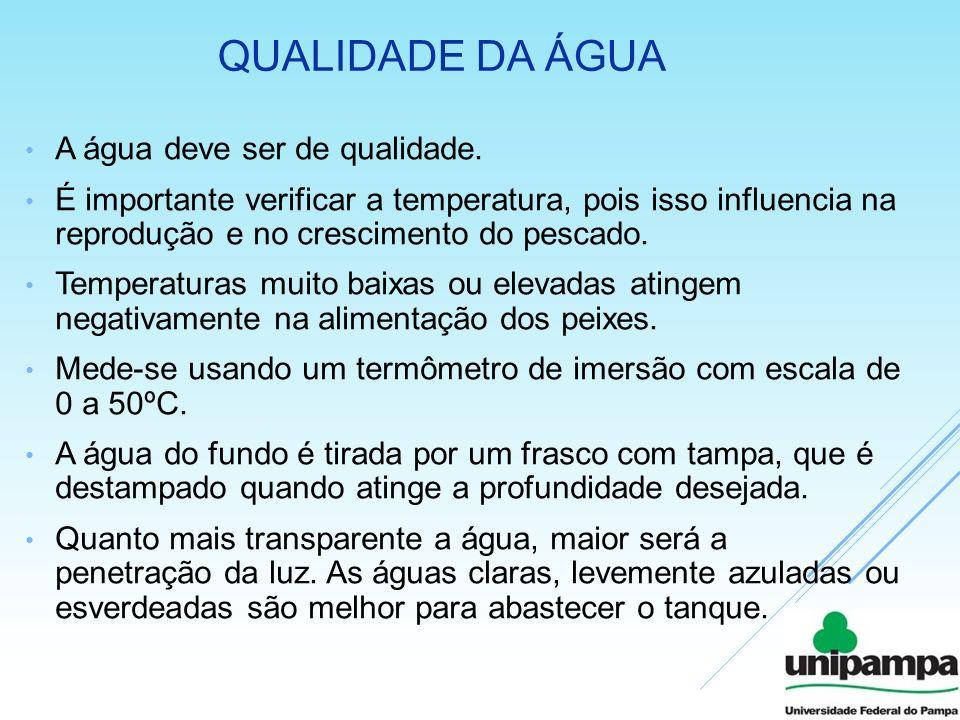 Qualidade da água A água deve ser de qualidade.