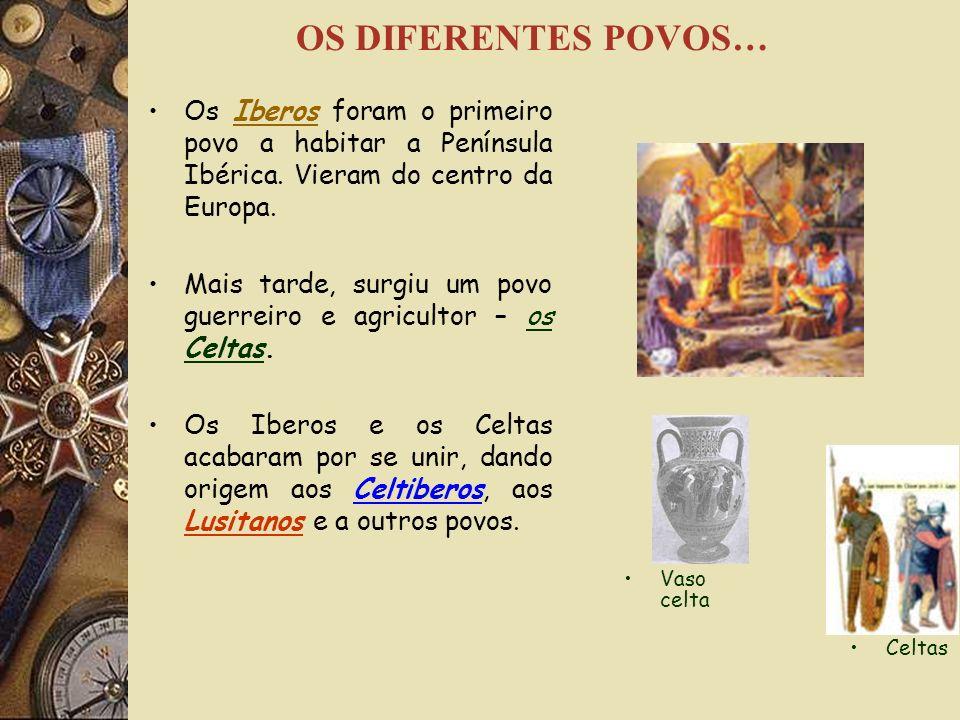 OS DIFERENTES POVOS… Os Iberos foram o primeiro povo a habitar a Península Ibérica. Vieram do centro da Europa.