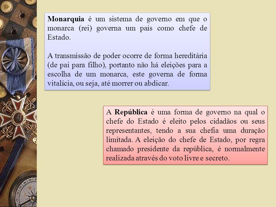 Monarquia é um sistema de governo em que o monarca (rei) governa um país como chefe de Estado.