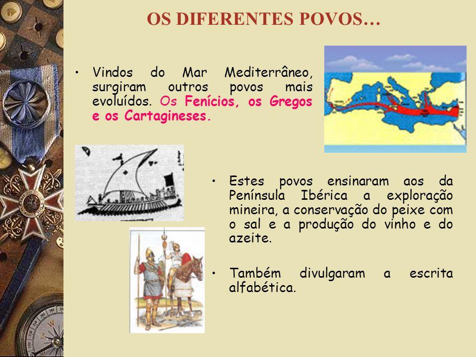 OS DIFERENTES POVOS… Vindos do Mar Mediterrâneo, surgiram outros povos mais evoluídos. Os Fenícios, os Gregos e os Cartagineses.