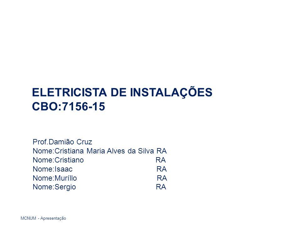 ELETRICISTA DE INSTALAÇÕES CBO:7156-15