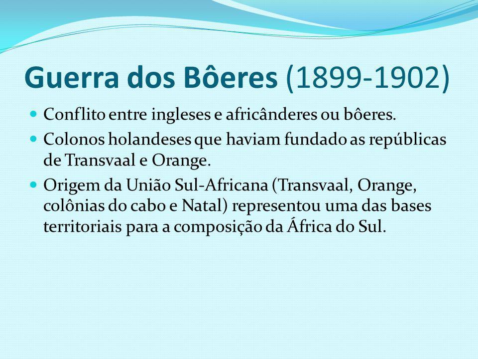 Guerra dos Bôeres (1899-1902) Conflito entre ingleses e africânderes ou bôeres.