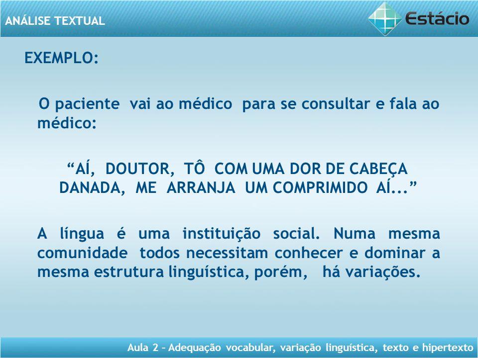 EXEMPLO: O paciente vai ao médico para se consultar e fala ao médico: AÍ, DOUTOR, TÔ COM UMA DOR DE CABEÇA DANADA, ME ARRANJA UM COMPRIMIDO AÍ... A língua é uma instituição social.
