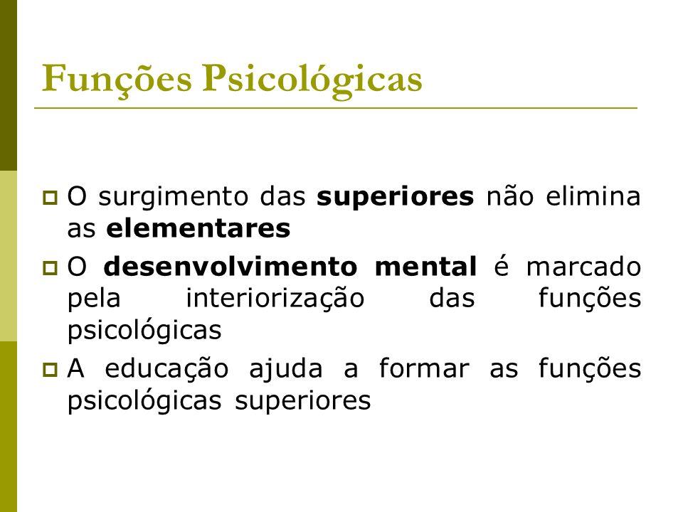 Funções Psicológicas O surgimento das superiores não elimina as elementares.