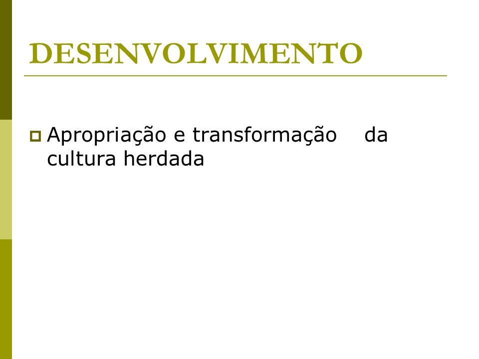 DESENVOLVIMENTO Apropriação e transformação da cultura herdada