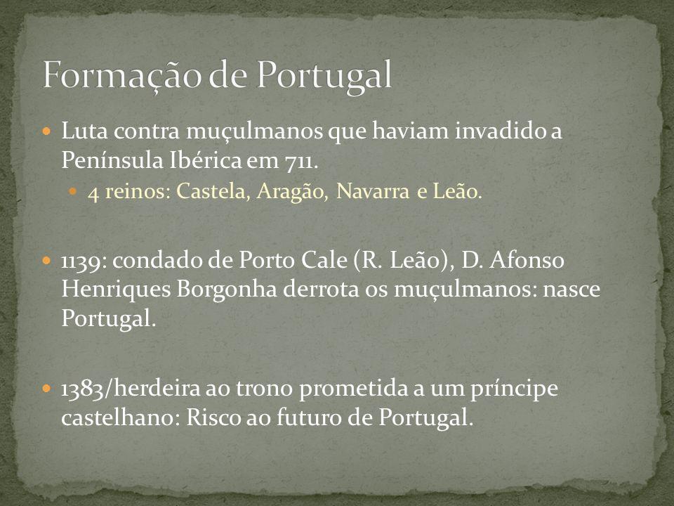 Formação de Portugal Luta contra muçulmanos que haviam invadido a Península Ibérica em 711. 4 reinos: Castela, Aragão, Navarra e Leão.