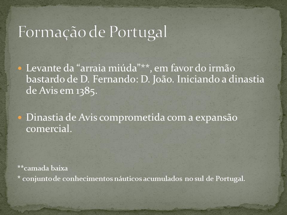 Formação de Portugal Levante da arraia miúda **, em favor do irmão bastardo de D. Fernando: D. João. Iniciando a dinastia de Avis em 1385.