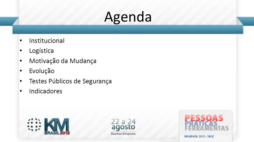 Agenda Institucional Logística Motivação da Mudança Evolução