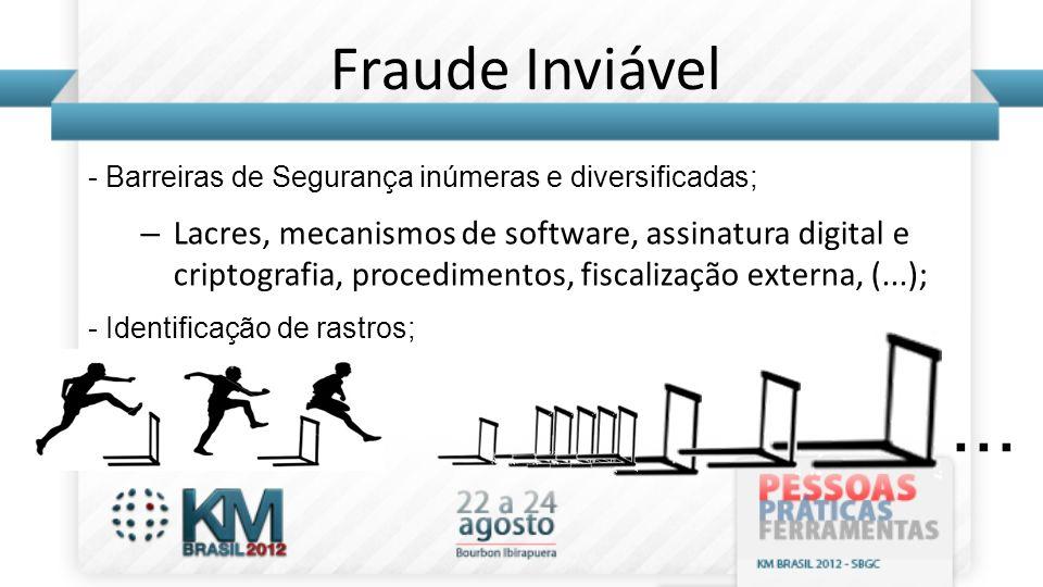 Fraude Inviável - Barreiras de Segurança inúmeras e diversificadas;