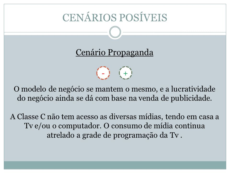 CENÁRIOS POSÍVEIS Cenário Propaganda