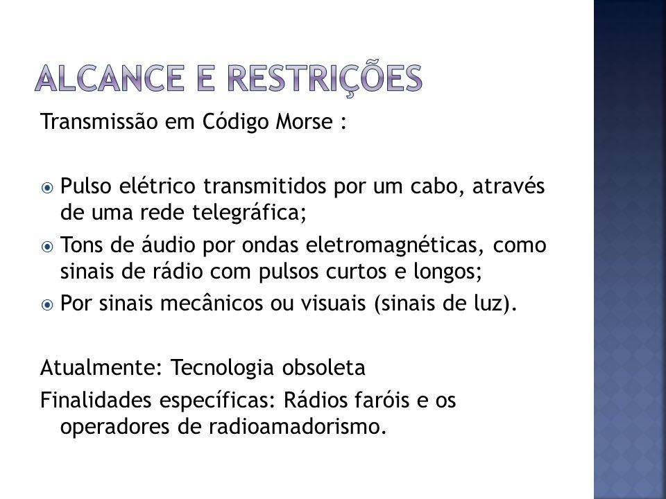 Alcance e restrições Transmissão em Código Morse :