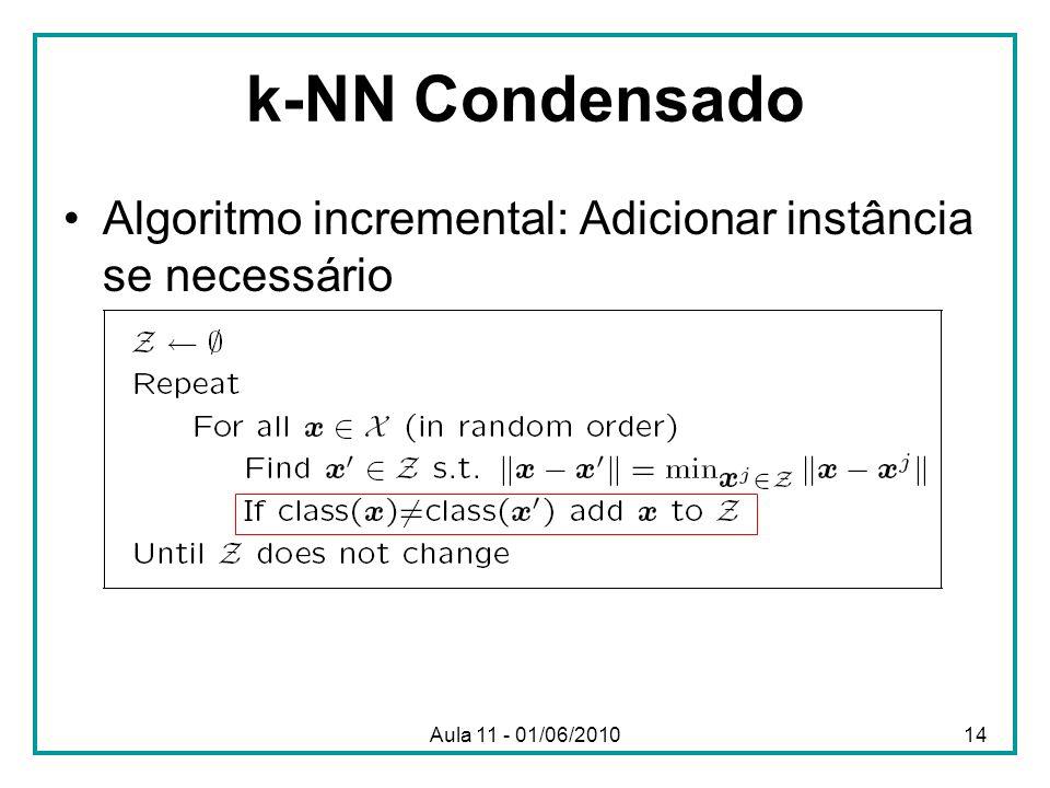 k-NN Condensado Algoritmo incremental: Adicionar instância se necessário Aula 11 - 01/06/2010