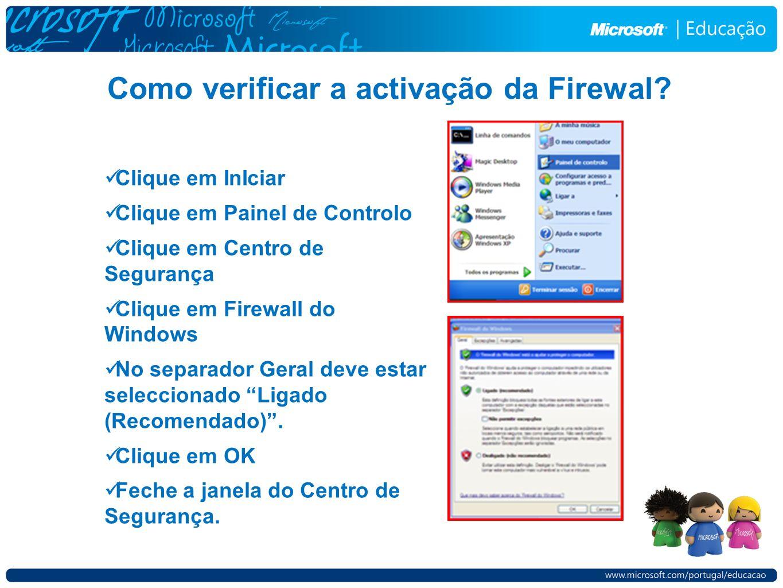 Como verificar a activação da Firewal