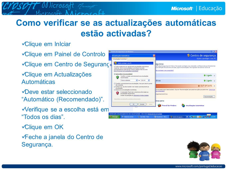 Como verificar se as actualizações automáticas estão activadas