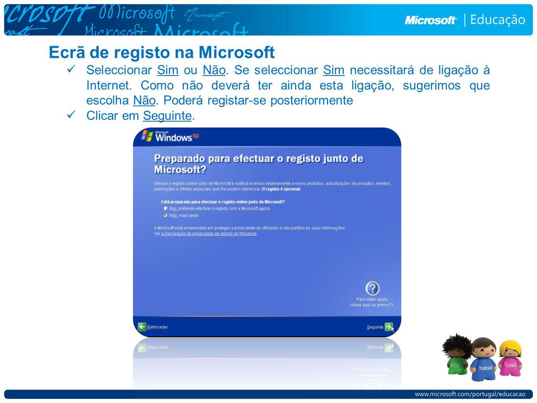 Ecrã de registo na Microsoft