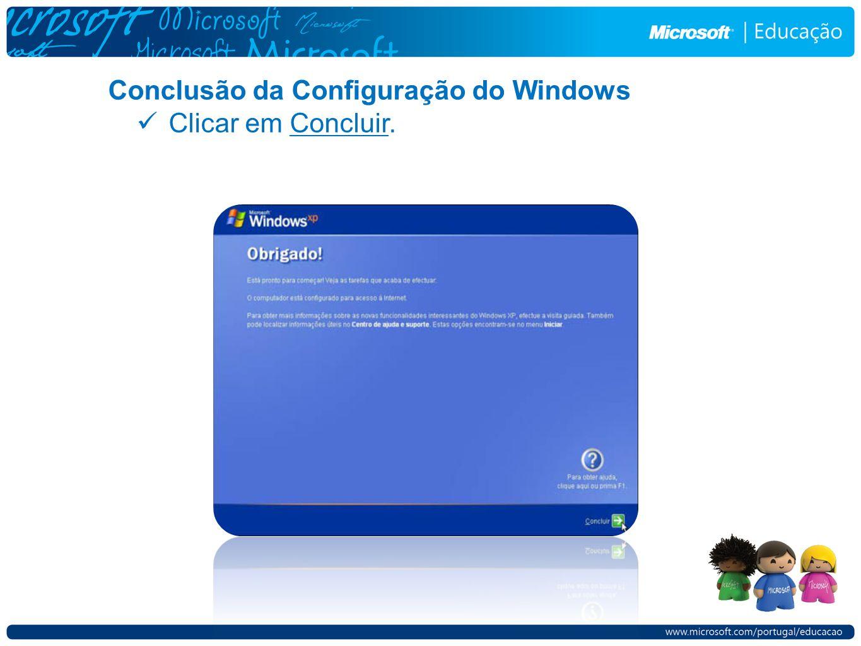 Conclusão da Configuração do Windows