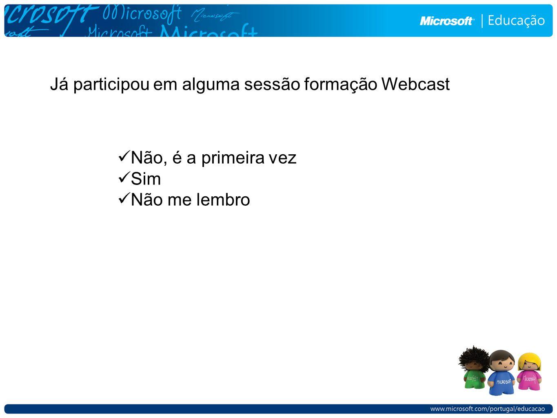 Já participou em alguma sessão formação Webcast