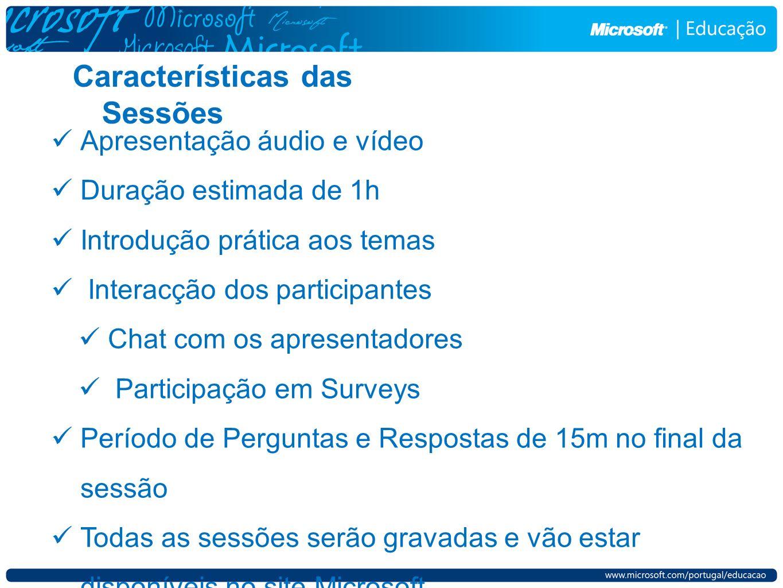 Características das Sessões