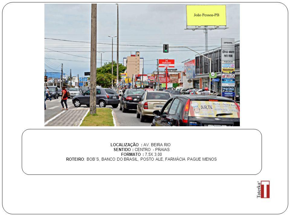 LOCALIZAÇÃO : AV. BEIRA RIO SENTIDO : CENTRO - PRAIAS