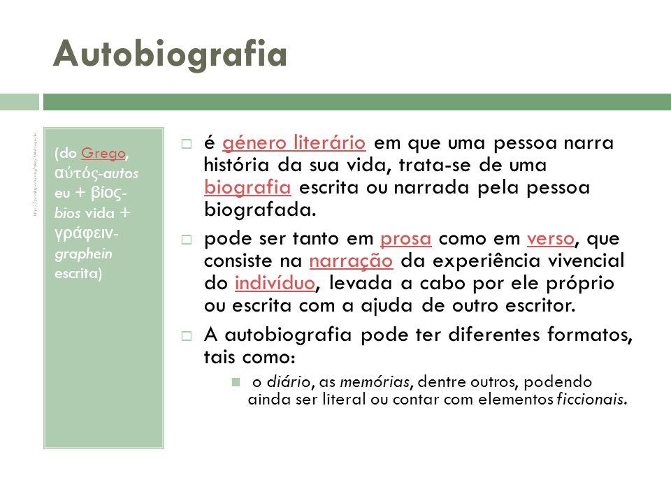 Autobiografia (do Grego, αὐτός-autos eu + βίος-bios vida + γράφειν- graphein escrita)