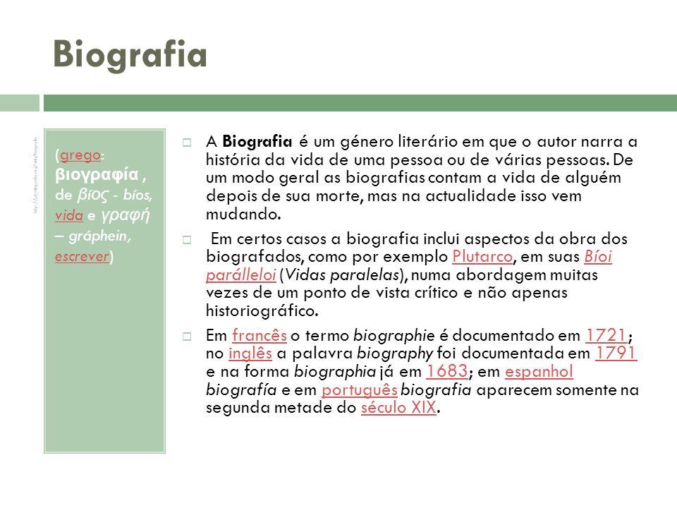 Biografia (grego: βιογραφία , de βíος - bíos, vida e γραφή – gráphein, escrever)