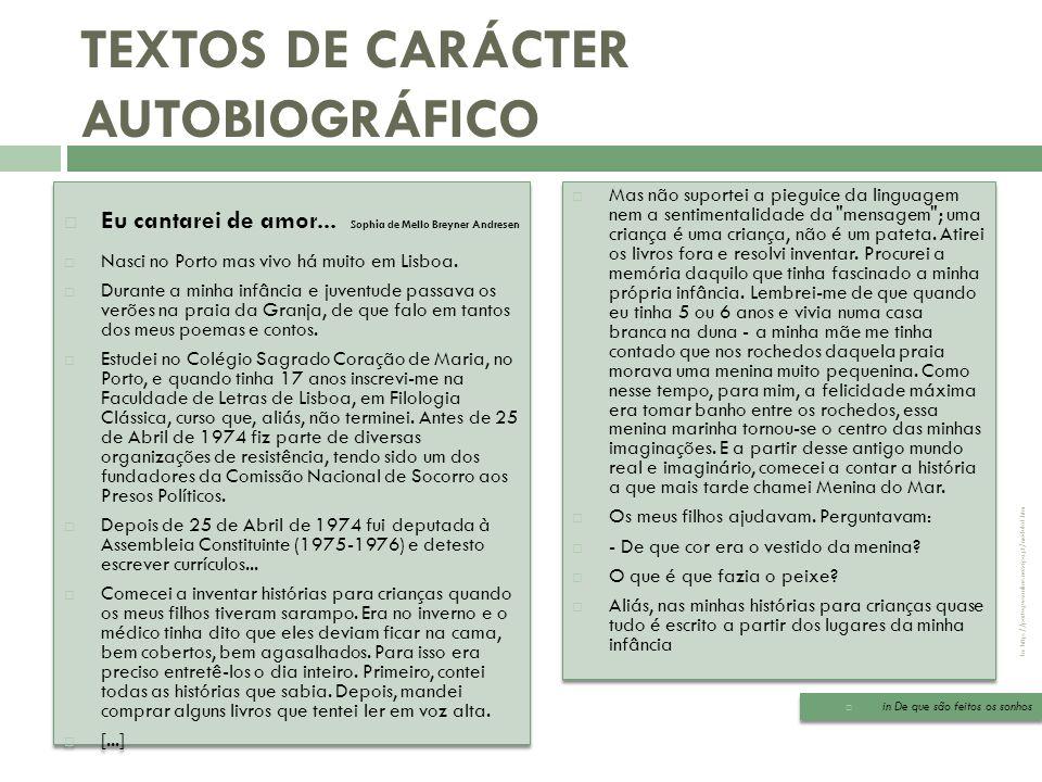 TEXTOS DE CARÁCTER AUTOBIOGRÁFICO
