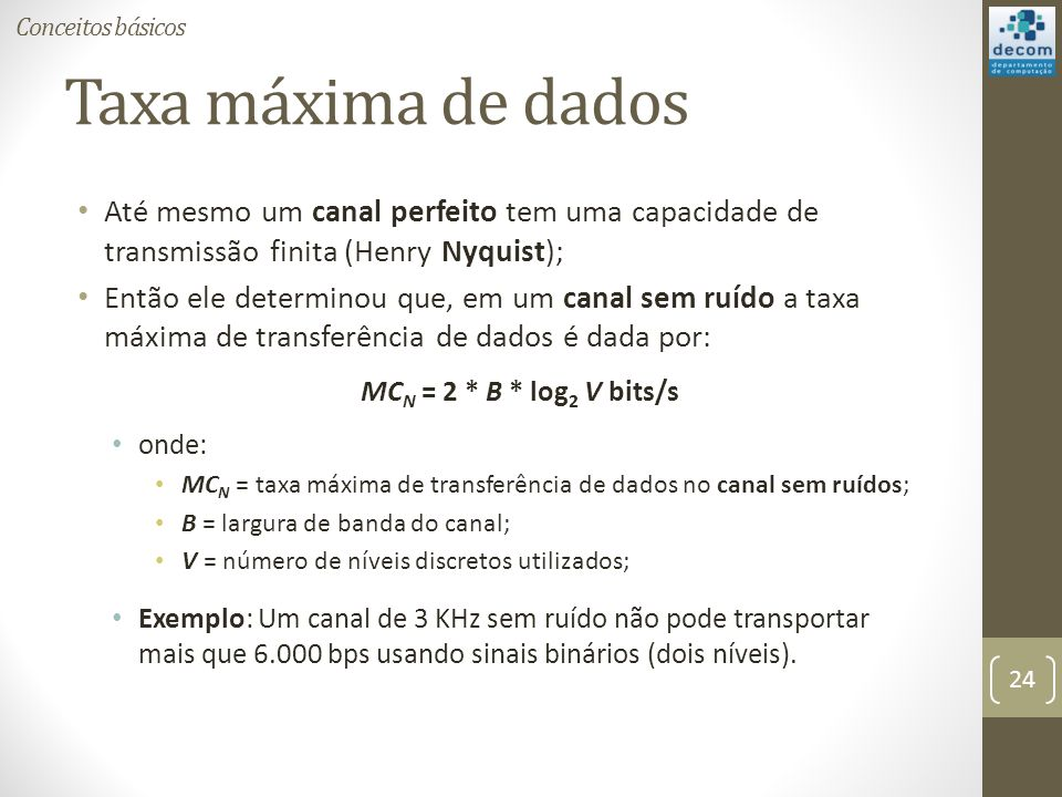 Conceitos básicos Taxa máxima de dados. Até mesmo um canal perfeito tem uma capacidade de transmissão finita (Henry Nyquist);