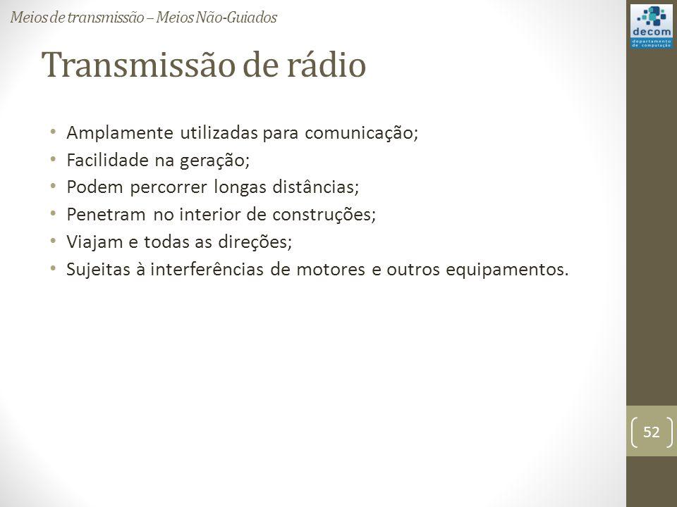 Transmissão de rádio Amplamente utilizadas para comunicação;