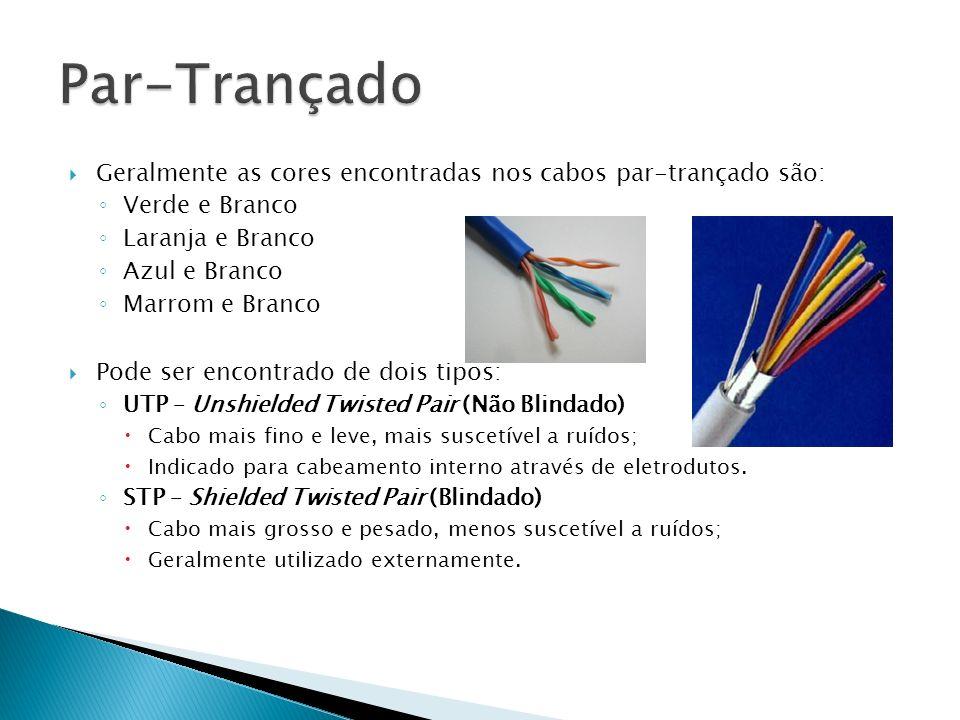 Par-Trançado Geralmente as cores encontradas nos cabos par-trançado são: Verde e Branco. Laranja e Branco.