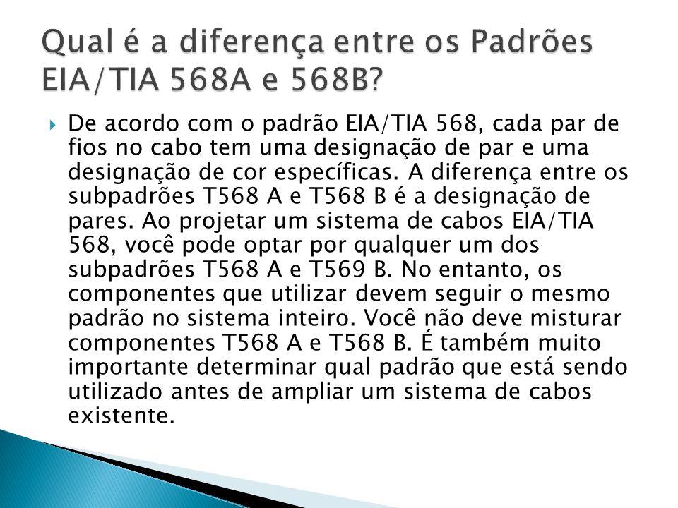 Qual é a diferença entre os Padrões EIA/TIA 568A e 568B