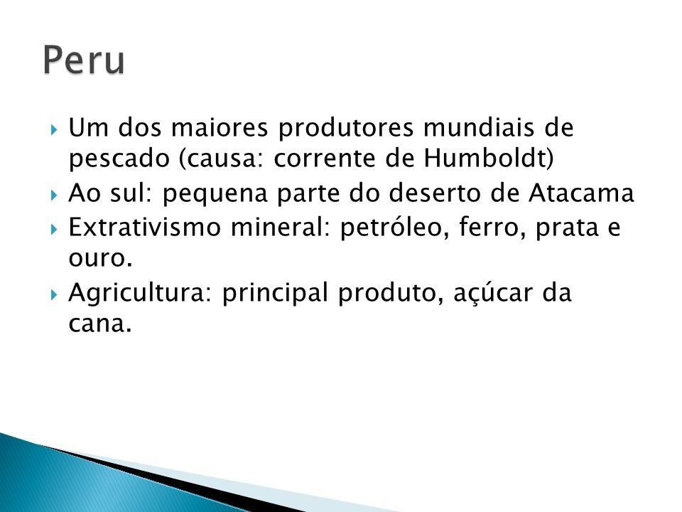 Peru Um dos maiores produtores mundiais de pescado (causa: corrente de Humboldt) Ao sul: pequena parte do deserto de Atacama.
