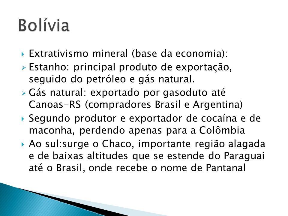 Bolívia Extrativismo mineral (base da economia):