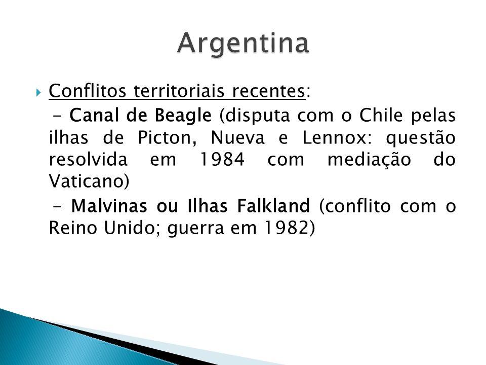 Argentina Conflitos territoriais recentes: