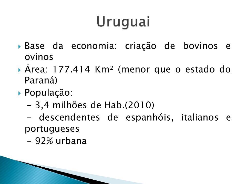 Uruguai Base da economia: criação de bovinos e ovinos