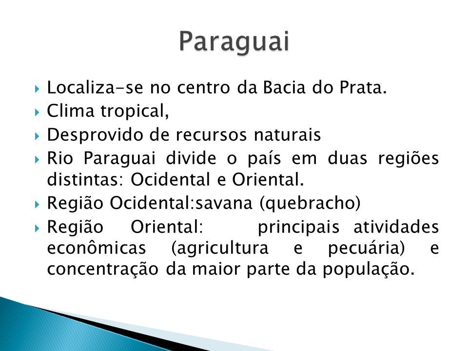 Paraguai Localiza-se no centro da Bacia do Prata. Clima tropical,