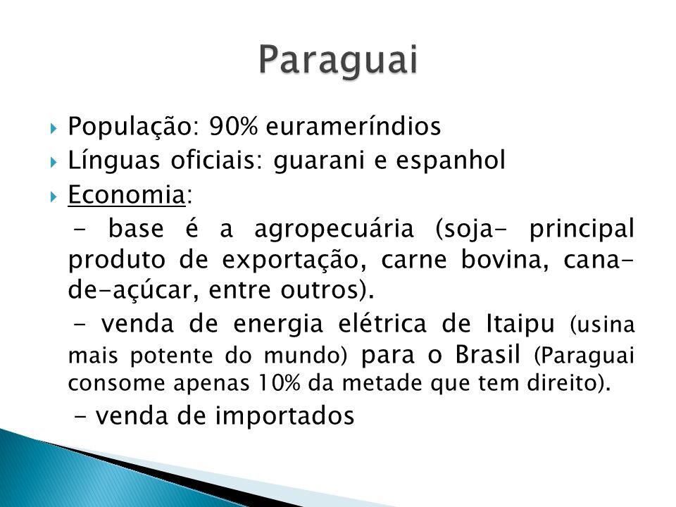 Paraguai População: 90% eurameríndios