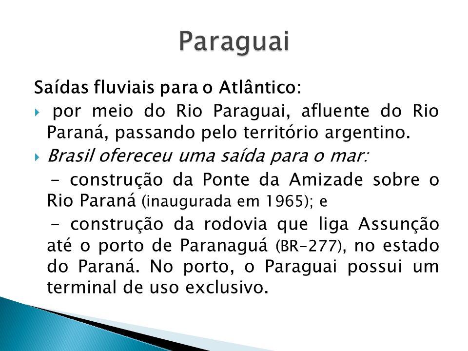 Paraguai Saídas fluviais para o Atlântico: