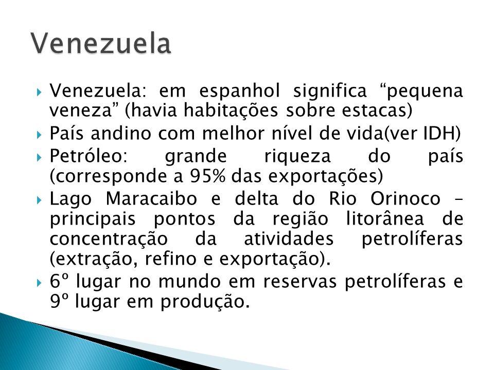 Venezuela Venezuela: em espanhol significa pequena veneza (havia habitações sobre estacas) País andino com melhor nível de vida(ver IDH)