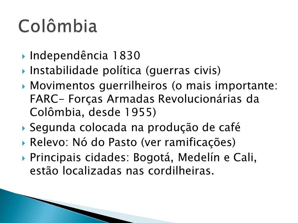 Colômbia Independência 1830 Instabilidade política (guerras civis)