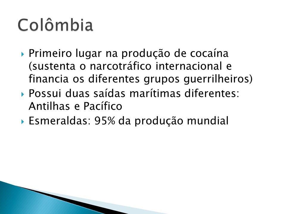 Colômbia Primeiro lugar na produção de cocaína (sustenta o narcotráfico internacional e financia os diferentes grupos guerrilheiros)